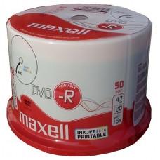 MAXELL DVD-R, 4.7GB/120min, 16x speed, printable, Cake 50