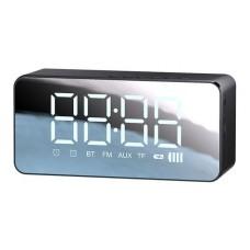 USAMS multi-functional ρολόι & ηχείο YX7LY01, BT5.0/3.5mm/SD card, μαύρο